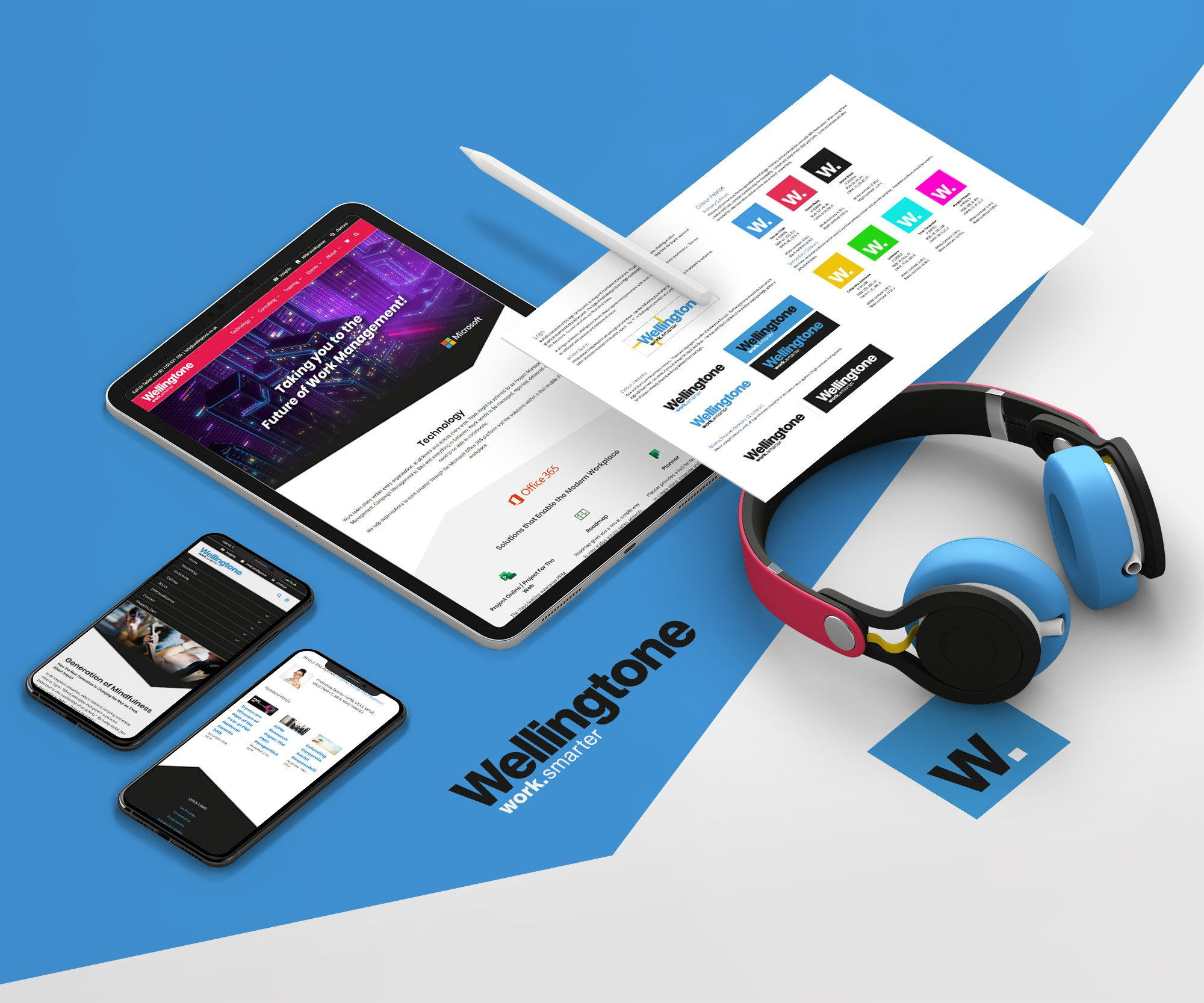 Wellingtone website - tablet, mobile devices and headphones