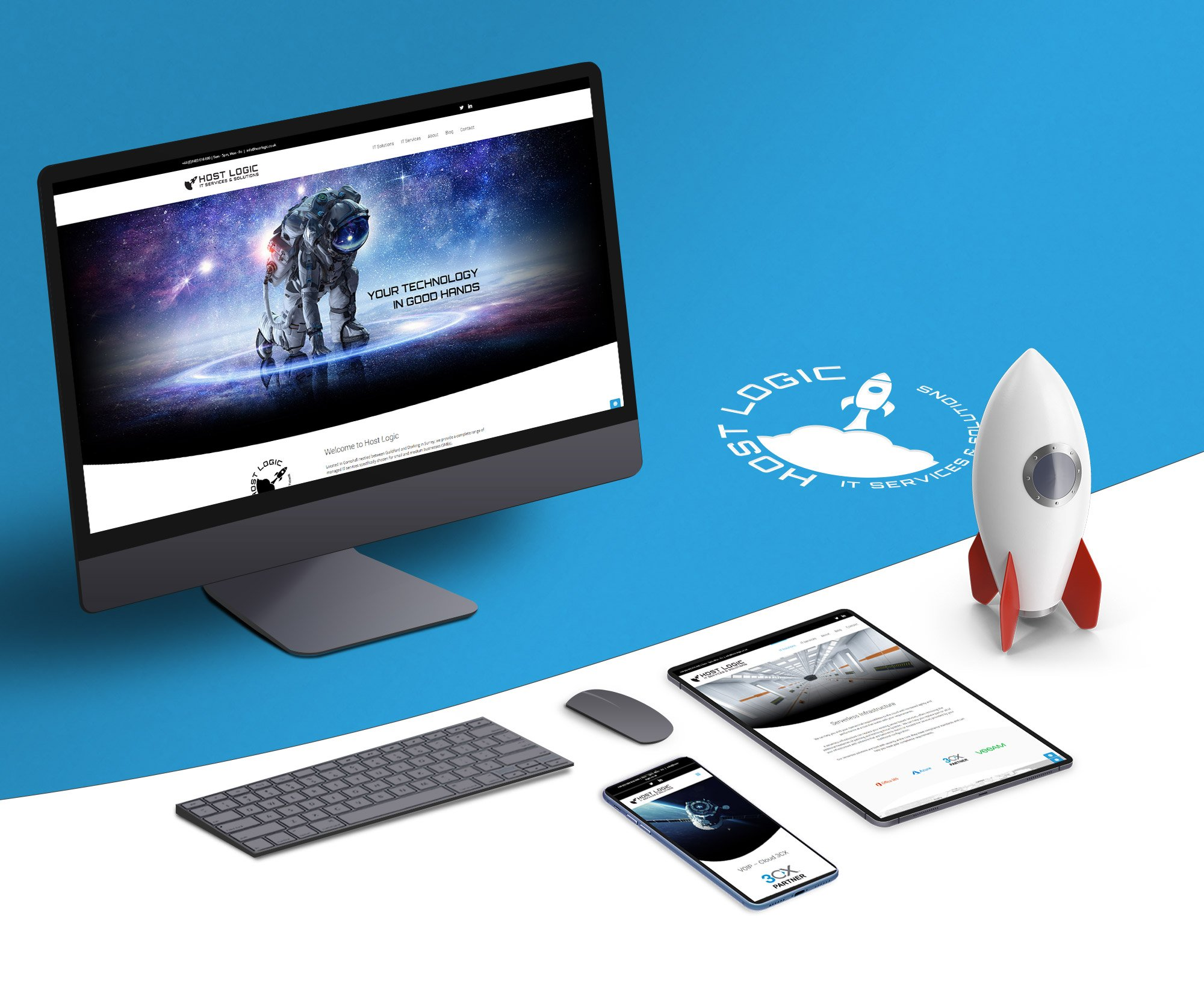 Host Logic logo and rocket with devices showing mobile variations of the website.