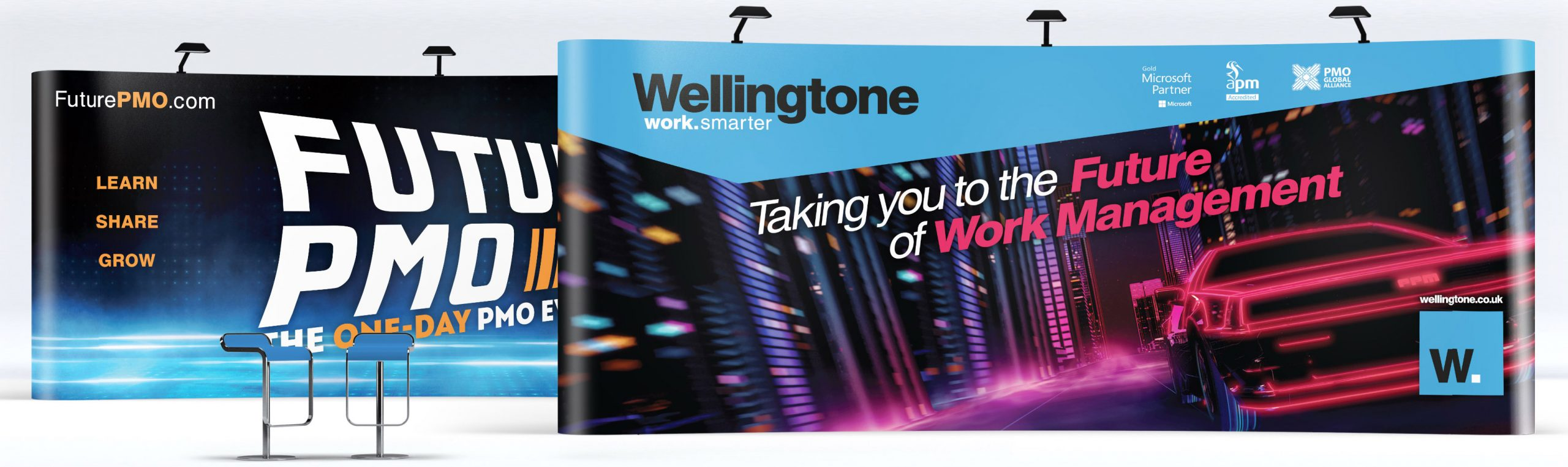 Wellingtone and FuturePMO tradeshow banners